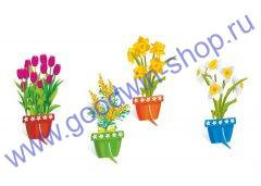 """Набор для оформления праздников """"Весенние цветы в горшочках"""""""