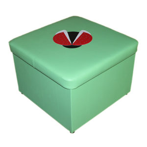 Пуф с аппликацией квадратный с ящиком для игрушек