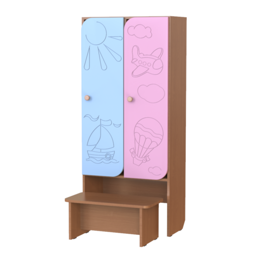 Шкаф 2-х секционный Путешествие со скамьей