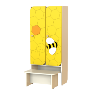 Шкаф 2-х секционный Пчелка со скамьей