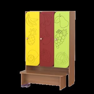 Шкаф 3-х секционный Фрукты со скамьей