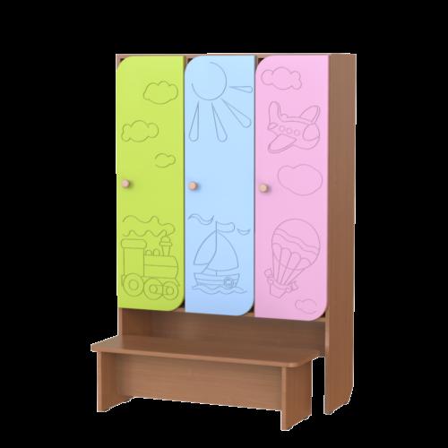 Шкаф 3-х секционный Путешествие со скамьей