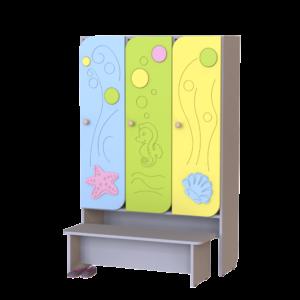 Шкаф 3-х секционный Морская волна со скамьей