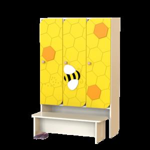 Шкаф 3-х секционный Пчёлка со скамьей