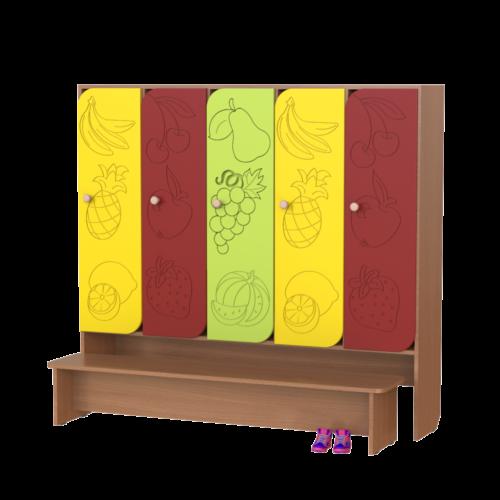 Шкаф 5-ти секционный Фрукты со скамьей