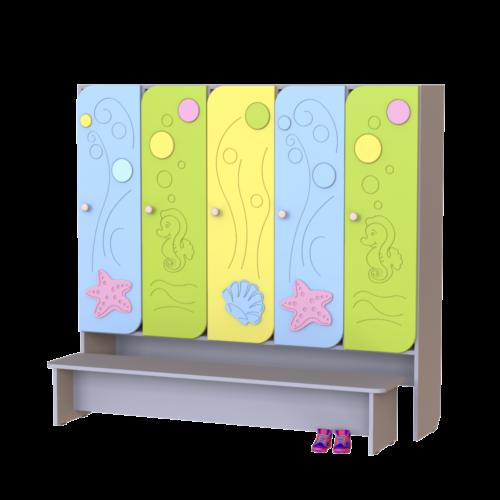 Шкаф 5-ти секционный Морская волна со скамьей