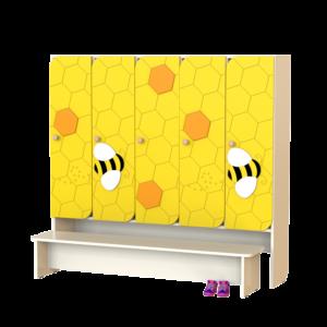Шкаф 5-ти секционный Пчёлка со скамьей
